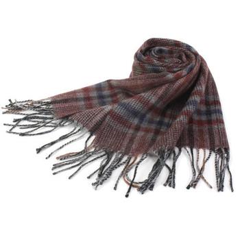 《S.T.Dupont》羊駝毛混紗典雅格紋圍巾(咖啡紅)