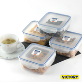 《VICTORY》550ml方形扣式食物密封保鮮盒(4入組)