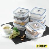 《VICTORY》550ml方形扣式食物密封保鮮盒(8入組)