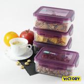 《VICTORY》800ml長形扣式食物密封保鮮盒(4入組)
