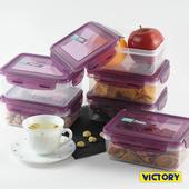 《VICTORY》800ml長形扣式食物密封保鮮盒(6入組)
