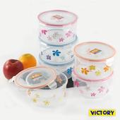 《VICTORY》1200ml圓形扣式食物密封保鮮盒(6入組)
