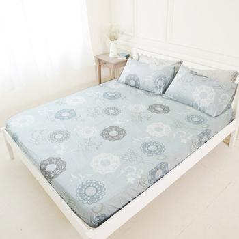 米夢家居 台灣製造-100%精梳純棉巴洛克雙人床包三件組-灰色(灰)