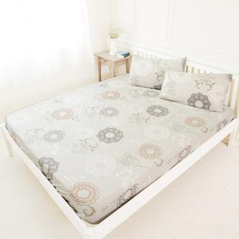 米夢家居 台灣製造-100%精梳純棉巴洛克雙人床包三件組-米色(米)