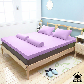 《輕鬆睡-EzTek》波浪面竹炭感溫釋壓記憶床墊{單人8cm}繽紛多彩3色(水藍)