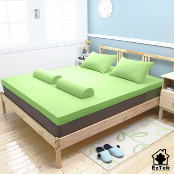 《輕鬆睡-EzTek》全平面竹炭感溫釋壓記憶床墊墊{單人加大6cm}繽紛多彩2色(淺綠)