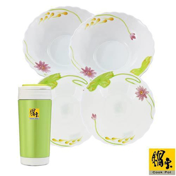 鍋寶 耐熱餐組4件組(贈隨身杯350cc-綠)(EO-SB749Z843ZIKH5351)