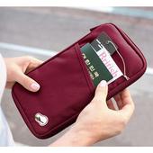《韓版》多功能旅遊收納護照包 隨手包(酒紅)懸掛式多用途網格收納袋