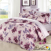 《Arnold Palmer雨傘牌》陶醉粉紫-60紗精梳純棉床罩雙人七件組