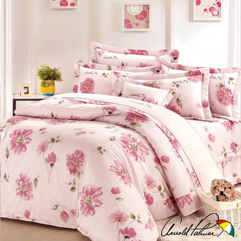 《Arnold Palmer雨傘牌》愛戀紅妍-60紗精梳純棉床罩雙人七件組