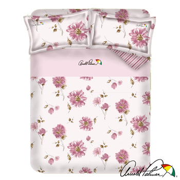 《Arnold Palmer雨傘牌》愛戀紅妍-40紗精梳純棉床包被套雙人四件組