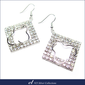 el 925 Silver 非銀系列 - 施華洛世奇水晶鑽耳環 Geometry(耳環)