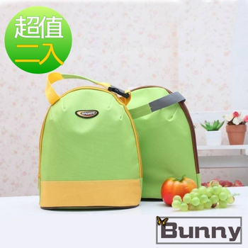 Bunny 韓版攜帶式手提加厚午餐袋購物袋便當袋保溫袋(二入)(黃色)