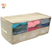 《月陽》60X38竹炭三格透明視窗衣物收納袋整理箱(80L)