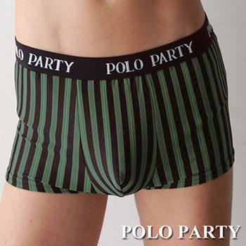 POLO PARTY 銀纖維男性四角條紋內褲 綠色(M)