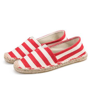 《Alice韓系館》【預購】寬白紅條歐美外銷草編休閒帆布鞋(紅38)