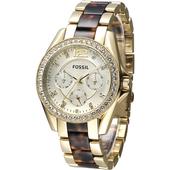 《FOSSIL》FOSSIL Riley璀璨年代三眼時尚女錶-玳瑁金(ES3343)