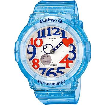 CASIO BABY-G 粉嫩甜美個性彩漾霓虹休閒錶-藍(BGA-131-2BDR)