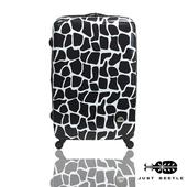 《Just Beetle》動物樂園系列之長頸鹿紋28吋輕硬殼旅行箱/行李箱(黑白)