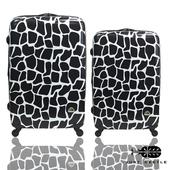 《Just Beetle》動物樂園系列之長頸鹿紋超值兩件28吋+24吋輕硬殼旅行箱/行李箱(黑白)