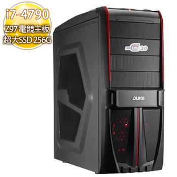華碩電競平台 【熱焰撲頂】i7-4790四核心 750TI獨顯256SSD 藍光燒錄電腦