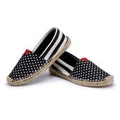 《Alice韓系館》【預購】小星星黑粗條草編休閒帆布鞋(黑38)