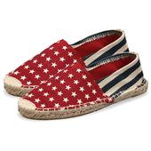 《Alice韓系館》【預購】粗麻底紅星星草編休閒帆布鞋(紅37)
