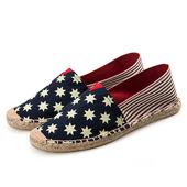 《Alice韓系館》【預購】藍色小星粗紅條草編休閒帆布鞋(藍37)
