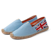 《Alice韓系館》【預購】藍國旗款草編休閒帆布鞋(藍36)