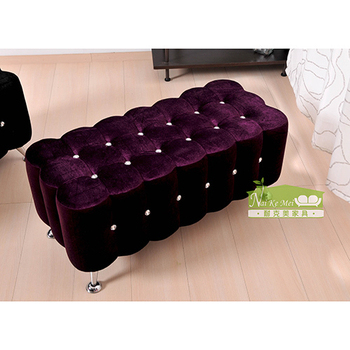 耐克美 蘭蒂水鑽雙人沙發椅/穿鞋椅(紫色)