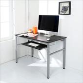 《BuyJM》低甲醛仿馬鞍皮120公分附鍵盤穩重型工作桌(黑色)