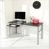 《BuyJM》低甲醛仿馬鞍皮160公分穩重型附鍵盤工作桌/電腦桌(黑色)