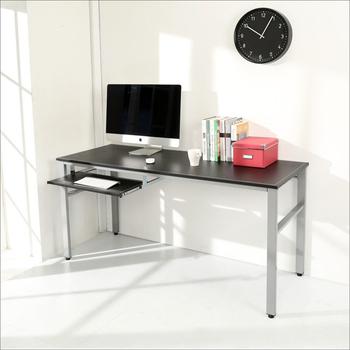 BuyJM 低甲醛仿馬鞍皮160公分穩重型附鍵盤工作桌/電腦桌(黑色)