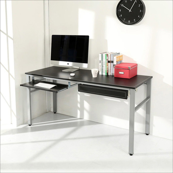 BuyJM 低甲醛仿馬鞍皮160公分穩重型附鍵盤抽屜工作桌/電腦桌(黑色)