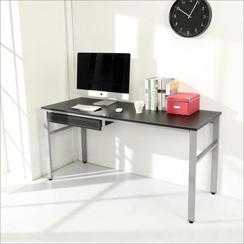 BuyJM 低甲醛仿馬鞍皮160公分穩重型附抽屜工作桌/電腦桌(黑色)