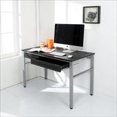 《BuyJM》低甲醛仿馬鞍皮120公分附一大抽屜一小抽屜穩重型工作桌/電腦桌(黑色)