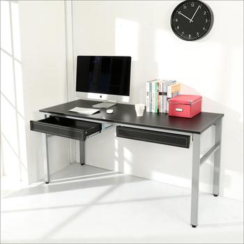 《BuyJM》低甲醛仿馬鞍皮160公分穩重型雙抽屜工作桌/電腦桌/附電線孔(黑色)