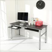 《BuyJM》低甲醛仿馬鞍皮160公分穩重型附雙鍵盤工作桌/電腦桌/附電線孔(黑色)