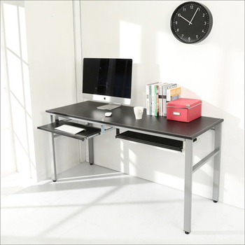 BuyJM 低甲醛仿馬鞍皮160公分穩重型附雙鍵盤工作桌/電腦桌/附電線孔(黑色)