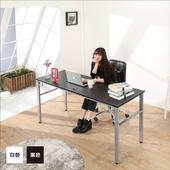 《BuyJM》環保低甲醛仿馬鞍皮面160公分穩重型工作桌/電腦桌/附電線孔/二色可選(黑色)