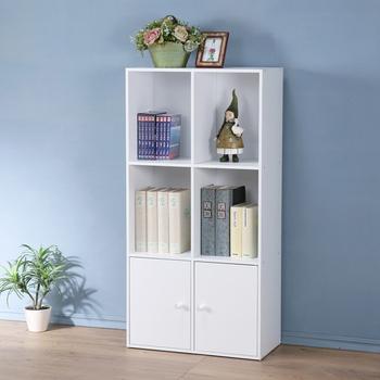 Homelike 現代風三層二門置物櫃-三色(純白色)