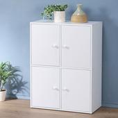 《Homelike》現代風二層四門置物櫃-三色(純白色)