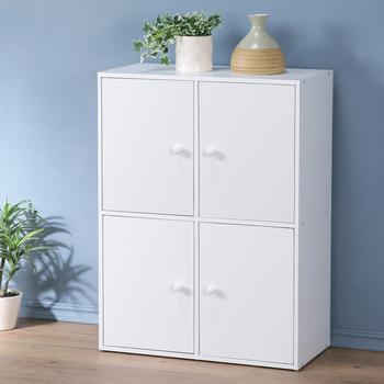 Homelike 現代風二層四門置物櫃-三色(純白色)