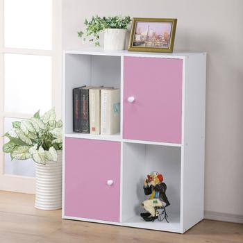 《Homelike》現代風四格二門置物櫃-三色(粉紅色)