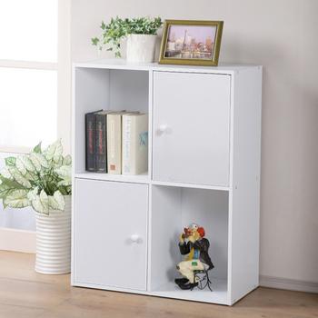 《Homelike》現代風四格二門置物櫃-三色(純白色)