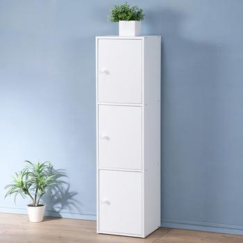 《Homelike》現代風三門置物櫃-三色(純白色)