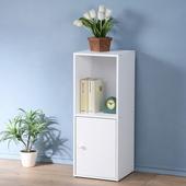 《Homelike》現代風二格單門置物櫃-三色(純白色)