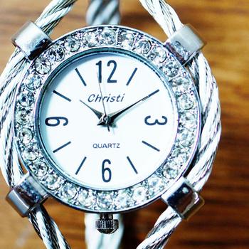 Christi 都會名媛 優雅系鋼索設計手環錶(白銀鋼索)