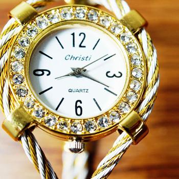 Christi 都會名媛 優雅系鋼索設計手環錶(白金鋼索)