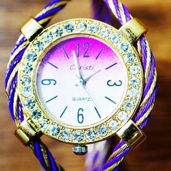 Christi 都會名媛 優雅系鋼索設計手環錶(紫金鋼索)